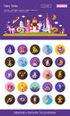 Fairy tales flat design cartoon characters icons set with header Royalty Free Stock Photo