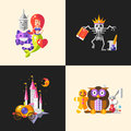 Fairy tales flat design magic cartoon characters compositions set Royalty Free Stock Photo