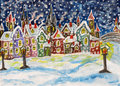 Fairy town in winter, handdrawn painting Royalty Free Stock Images