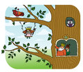 Fairy tree forest elfes living at the princess with her parents Royalty Free Stock Photo