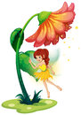 A fairy under a giant flower illustration of on white background Royalty Free Stock Photo