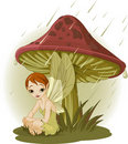 Fairy under Mushroom Royalty Free Stock Photography