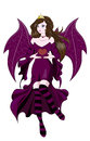 Fairy valentines devil the beautiful fantastic black the brunette holds in hand heart a day card Stock Photos