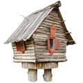 Fairy witch house on chicken legs from folklore isolated Royalty Free Stock Photo