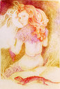 Fairy woman knitting from sun ray threads, detailed ornamental drawing Royalty Free Stock Photo