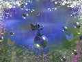 Fairy world digital art of a sitting on a bubble Royalty Free Stock Image
