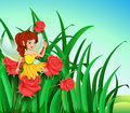 A fairy with a yellow dress at the garden illustration of Stock Photos