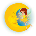 A fairy with a yellow dress beside a sleeping moon illustration of on white background Stock Images