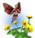 Fairy with Zinnias - includes clipping path Royalty Free Stock Images