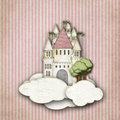 Fairytale castle in the clouds striped background