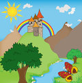 Fairytale castle illustration trees river and butterfly Stock Images