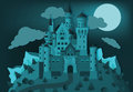 Fairytale castle in the night Royalty Free Stock Photo