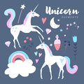 Fairytale elements. Unicorn with rainbow, stars, cloud, magic potion and flowers. Royalty Free Stock Photo
