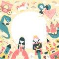 Fairytale frame with princess, prince, unicorn, dragon, fairy, castles. Vector illustration in cartoon scandinavian