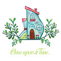 Fairytale house. Watercolor hand drawn illustration.