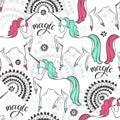 Fairytale seamless pattern with unicorns. Cartoon illustration.