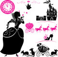 Fairytale set silhouettes of cinderella pumpkin carriage with mouses castle and clock Royalty Free Stock Images
