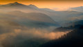Fairytale spring pieninský dawn beautiful panorama of the pieniny with the clouds and mists recommend watching the of sokolica Stock Images