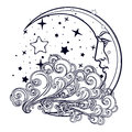 Fairytale style crescent moon with a human face resting on a curly ornate cloud with a starry nignht sky behind