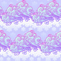Fairytale style winter festive seamless pattern. Curly ornate clouds with a falling snowflakes. Christmas mood. Pastel