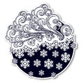 Fairytale style winter festive sticker. Curly ornate clouds with a falling snowflakes. Weather forecast icon. Christmas Royalty Free Stock Photo