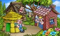 Fairytale The Three Little Pigs Cartoon Scene Royalty Free Stock Photo