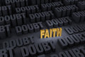 Faith against overwhelming doubt a small shining gold stands out in a dark background of gray rising up around it Stock Images