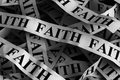 Faith crumpled paper pieces with word Stock Image