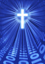 Faith in the digital age graphic depicting a cross radiating light and binary digits representing use of technology to spread word Royalty Free Stock Photo