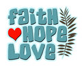Faith hope love words with heart and fern lettering in teal blue Stock Image