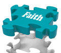 Faith jigsaw shows believing religious belief or trust showing Royalty Free Stock Photography