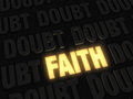 Faith a light amidst doubt bright gold glowing on dark background of doubts Royalty Free Stock Images