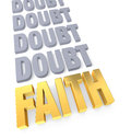 Faith overcomes doubt row of plain gray ending in a bright gold on white Stock Images