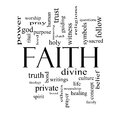 Faith word cloud concept in black and white with great terms such as power worshiop spirit divine more Royalty Free Stock Photo