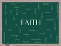 Faith word cloud concept on a blackboard with great terms such as power worshiop spirit divine and more Stock Image