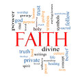 Faith word cloud concept with great terms such as power worshiop spirit divine and more Stock Photography