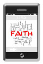 Faith word cloud concept on touchscreen phone of with great terms such as holy divine healing and more Royalty Free Stock Photo