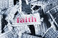 Faith word on material pieces Royalty Free Stock Photos
