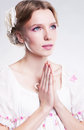 Faith. Young woman praying against her sin Royalty Free Stock Image