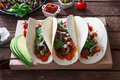 Fajitas, mexican beef with grilled vegetable in tortilla wraps Royalty Free Stock Photo