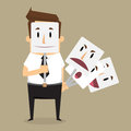 Fake businessman wearing mask smile rage cavaliers. Business con Royalty Free Stock Photo