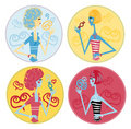Fake candy woman icons Stock Images