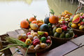 Fake fruit on a basket colorful of wooden boat Royalty Free Stock Photography