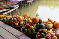 Fake fruit on a basket colorful of wooden boat Royalty Free Stock Photos