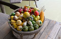 Fake fruit on a basket colorful of wooden boat Stock Photography