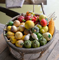 Fake fruit on a basket colorful of wooden boat Royalty Free Stock Photo