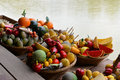Fake fruit on a wooden colorful of boat Royalty Free Stock Image