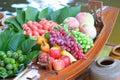 Fake fruits on thai boat Stock Image