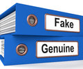 Fake Genuine Folders Show Real Or Imitation Products Stock Photography