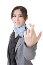 Fake gesture asian business woman give you a closeup portrait on white background Royalty Free Stock Photos